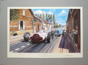 MERCEDES BENZ W154 French GP 1938. N WATTS print signed by Von Brauchitsch (600x830mm)